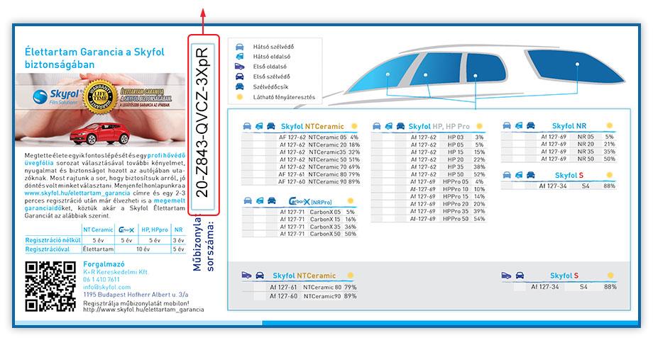 SkyFol műbizonylat előlap